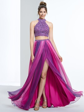 Amazing Halter Beading Button Two Piece Prom Dress & vintage Faster Shipping Sale