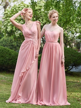 Simple V Neck Appliques A Line Long Bridesmaid Dress & fairy Faster Shipping Sale
