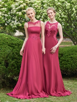 Beautiful Illusion Neckline Sheath Long Bridesmaid Dress & formal Faster Shipping Sale