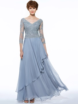 Beautiful V Neck Draped Appliques A Line Mother of the Bride Dress & Faster Shipping Sale 2012