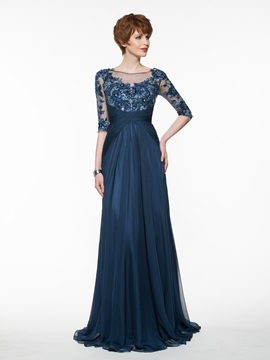 Beautiful Bateau A Line Long Mother of the Bride Dress & inexpensive Faster Shipping Sale