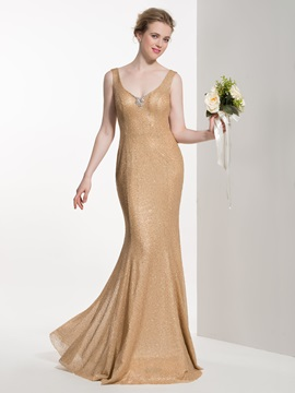 Attractive V Neck Beading Mermaid Bridesmaid Dress & Faster Shipping Sale for sale