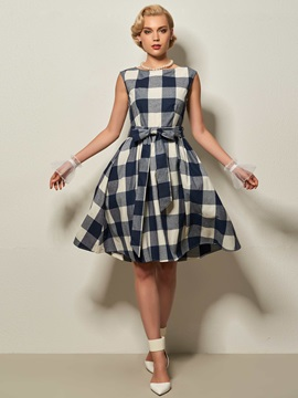 Round Neck Cap Sleeve Plaid Women's Day Dress