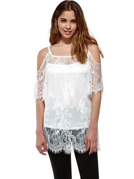 stylish Half Sleeves Slim Lace T-Shirt