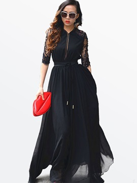 Solid Color Lace Patchwork Half Sleeve Maxi Dress