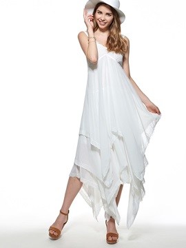 Asymmetric Solid Color Sleeveless Day Dress