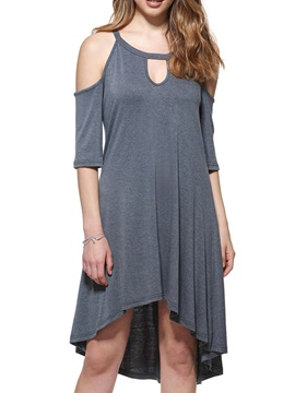 Plain High-Low Hollow Shift Dress