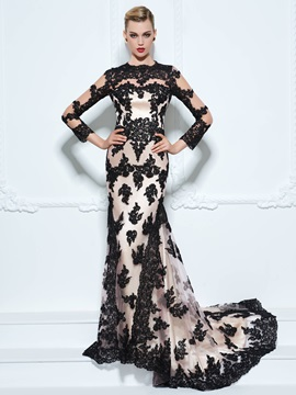 Vintage Long Sleeves Appliques Button Trumpet Evening Dress & casual Faster Shipping Sale