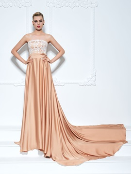 Strapless Sashes Chapel Train Lace Evening Dress & informal Faster Shipping Sale