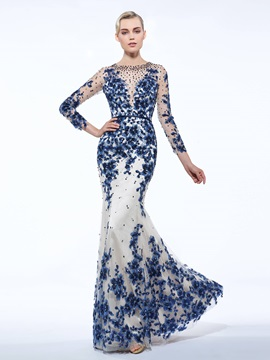 Gorgeous Scoop Neck Sequins Appliques Beading Sheath Evening Dress & attractive Faster Shipping Sale
