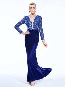 V-Neck Long Sleeve Beading Lace Evening Dress & Faster Shipping Sale online
