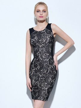 Cool Scoop Neck Sheath Lace Cocktail Dress & inexpensive Faster Shipping Sale