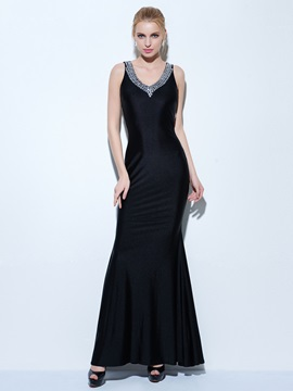Sexy Straps Beading Sheath Black Evening Dress & cheap Faster Shipping Sale