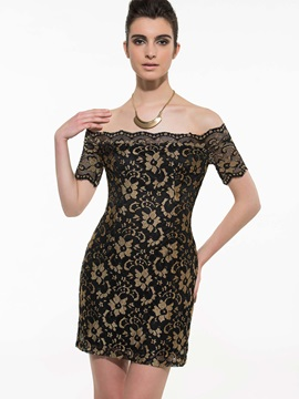 Chic Off-the-Shoulder Short Sleeve Lace Dress