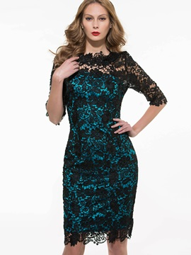 Contrast Color Patchwork 3/4 Sleeve Bodycon Dress