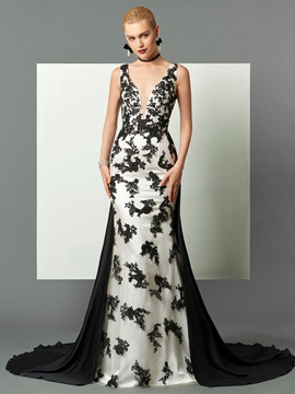 Gorgeous Sheath V-Neck Appliques Court Train Evening Dress & vintage style Faster Shipping Sale