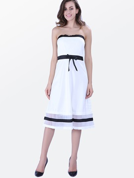 Sexy Strapless Backless Patchwork Bowknot Day Dress