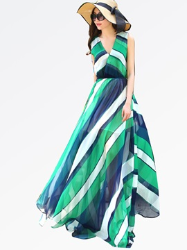 V-Neck Sleeveless Stripe Expansion Maxi Dress