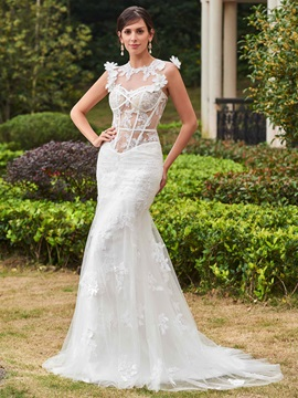 Sexy Jewel Appliques Mermaid Wedding Dress & Faster Shipping Sale under 500