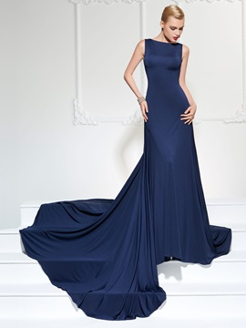 Concise A-Line Bateau Backless Court Train Evening Dress & Faster Shipping Sale under 500
