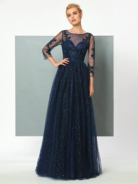 Gorgeous A-Line Scoop 3/4 Length Sleeves Appliques Sequins Evening Dress & Faster Shipping Sale from china