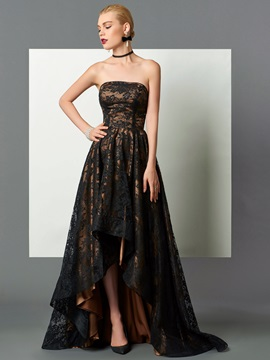 Elegant A-Line Strapless Lace Asymmetry Evening Dress & vintage Faster Shipping Sale