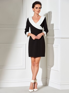 Contrast Color Chic V-Neck Work Dress