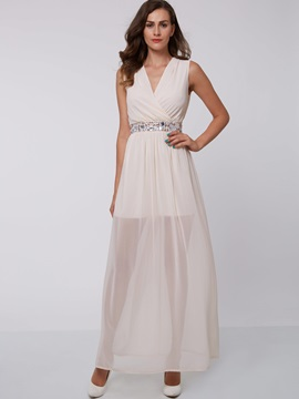 Chic V-Neck Beading Ankle-Length Evening Dress & fashion Faster Shipping Sale
