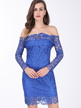 Plain Off-the-Shoulder Long Sleeve Lace Dress