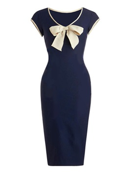 Contrast Color Short Sleeve Bodycon Dress with Bowknot