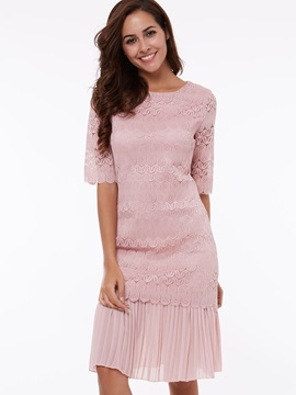 Solid Half Sleeve Expansion Lace Dress