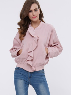 Stylish Plain Front Placket Ruffled Loose Jacket