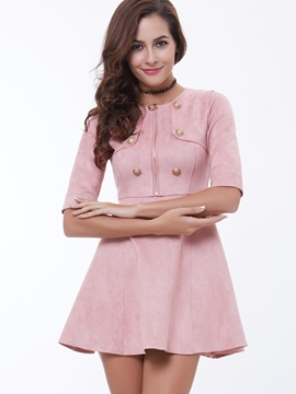 Plain Half Sleeve Skater Dress with Buttons