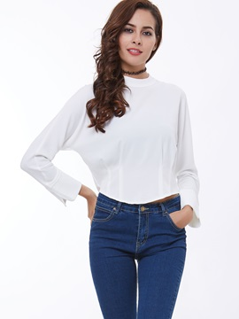 Simple Batwing Sleeve Back-Zip Women's Shirt