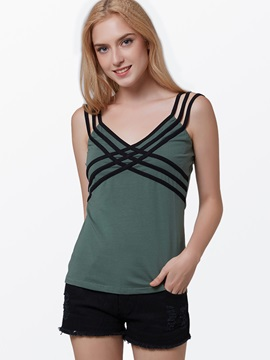 Vogue Spaghetti Strap Chest-Stripe Tank Top