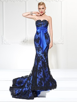 Exquisite Mermaid Sweetheart Beading Bowknot Lace Court Train Evening Dress & formal Faster Shipping Sale