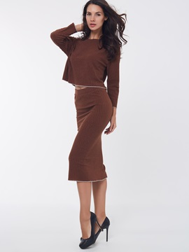 Knitwear Solid Color Winter 2-Piece Sets