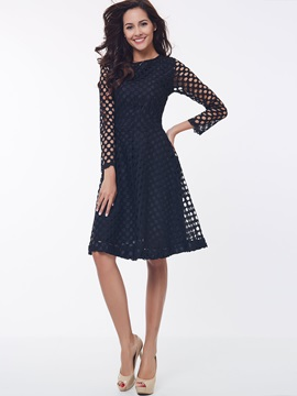 Solid Round Neck Patchwork Lace Dress