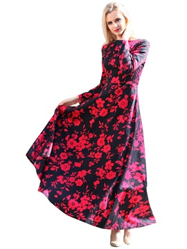 Floral Print Long Sleeve Bohemian Maxi Dress