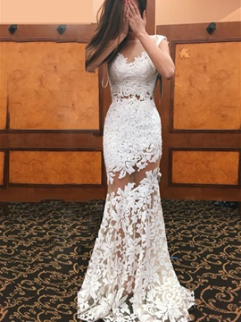 Sexy Scoop Neck Appliques Sheath Lace Wedding Dress & attractive Faster Shipping Sale