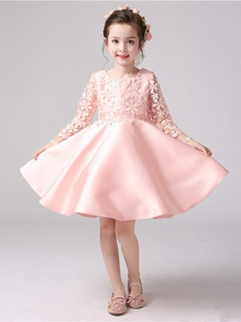 Long Sleeves Scoop Neck Bowknot A-Line Flower Girl Dress & Faster Shipping Sale online