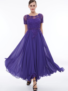 Short Sleeves Appliques A-Line Evening Dress & Faster Shipping Sale from china