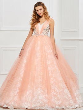 Lovely Ball Gown V-Neck Beading Lace Floor-Length Quinceanera Dress & discount Faster Shipping Sale