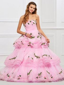 Lovely Sweetheart Ball Gown Appliques Tiered Floor-Length Quinceanera Dress & Faster Shipping Sale under 500
