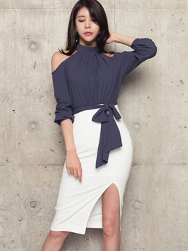 Color Block Stand Collar Lace-Up Bodycon Dress