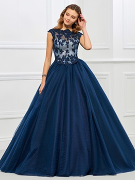 Vintage Jewel Ball Gown Cap Sleeves Appliques Beaded Floor-Length Quinceanera Dress & Faster Shipping Sale for less