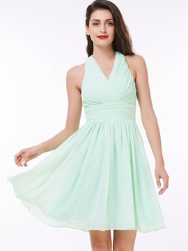 Simple Halter Pleats High Waist Homecoming Dress & romantic Faster Shipping Sale