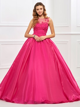 Charming Jewel Neck Ball Gown Appliques Floor-Length Quinceanera Dress & inexpensive Faster Shipping Sale