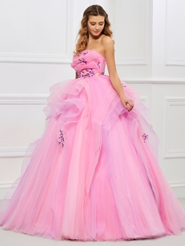 Nice Strapless Ball Gown Embroidery Pleats Floor-Length Quinceanera Dress & Faster Shipping Sale 2012