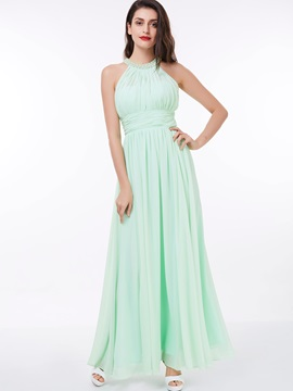 Halter A-Line Pearls Pleats Long Prom Dress & unusual Faster Shipping Sale